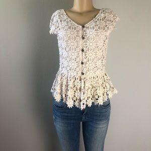 aniina floral crochet lace cream top size S